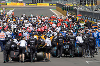 18th July 2021; Silverstone Circuit, Silverstone, Northamptonshire, England; Formula One British Grand Prix, Race Day; Mercedes AMG Petronas F1 Team driver Lewis Hamilton in his Mercedes F1 W12 Mercedes AMG F1 M12 is pushed into his starting position