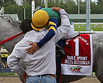 HALLANDALE BEACH, FL -JULY 02:  #1 Delta Bluesman (FL) with jockey Emisael Jaramillo on board after winning the Smile Sprint Stakes G2, a Breeders' Cup Win and You're In race at Gulfstream Park on July 02, 2016 in Hallandale Beach, Florida. (Photo by Liz Lamont/Eclipse Sportswire/Getty Images)
