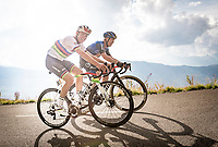 World Champion Mads Pedersen (DEN/Trek-Segafredo) & Danish compatriot Michael Valgren (DEN/NTT) laughing their way up the finish climb & the highest peak of the 2020 #TdF: the Col de la Loze (HC/2304m/21,5km @7,8%)<br /> <br /> Stage 17 from Grenoble to Méribel - Col de la Loze (170km)<br /> <br /> 107th Tour de France 2020 (2.UWT)<br /> (the 'postponed edition' held in september)<br /> <br /> ©kramon