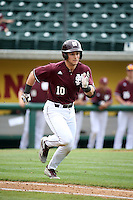 Ryan Gridley (10) of the Mississippi State Bulldogs runs to first base during a game against the Southern California Trojans at Dedeaux Field on March 5, 2016 in Los Angeles, California. Mississippi State defeated Southern California , 8-7. (Larry Goren/Four Seam Images)