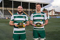 Will DAVIS (17) of Ealing Trailfinders and Rayn SMID (8) of Ealing Trailfinders receive their 100th caps after the Greene King IPA Championship match between Ealing Trailfinders and Ampthill RUFC being played behind closed doors due to the COVID-19 pandemic restrictions at Castle Bar , West Ealing , England  on 13 March 2021. Photo by David Horn.