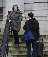 """Pictured: Jean Wilson stands outside Cardiff Crown Court. Wednesday 06 December 2017<br /> Re: Managing director Jean Wilson who stole £50,000 from the recruitment company she worked for to pay for a gastric band operation and a luxury £10,000 holiday, is due to be sentenced today at Cardiff Crown Court.<br /> Wilson, who lived in a rented mansion, also blew cash on paying for vets' bills, dog sitters, and dog groomers in a """"sophisticated"""" scam.<br /> The 58-year-old appeared at Cardiff Crown Court on Tuesday after she had previously pleaded guilty to fraud by abuse of position.<br /> The defendant had held the position of managing director at Axcis Education Recruitment, now known as RO Education Ltd, for five years before her embezzlement was discovered and had spent 10 years at the company in total."""