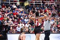 STANFORD, CA - March 7, 2020: Real Woods of Stanford celebrated during the 2020 Pac-12 Wrestling Championships at Maples Pavilion.