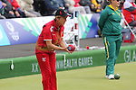 Glasgow 2014 Commonwealth Games<br /> <br /> Kathy Pearce (Wales) competing in the lawn bowls women's triples.<br /> <br /> 30.07.14<br /> ©Steve Pope-SPORTINGWALES