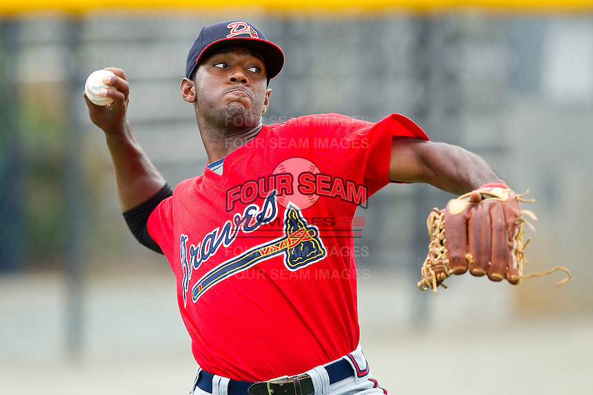 Wilson Rivera #30 of the Danville Braves prior to the game against the Burlington Royals at Burlington Athletic Park on August 14, 2011 in Burlington, North Carolina.  The Braves defeated the Royals 10-2 in a game called by rain in the bottom of the 8th inning.   (Brian Westerholt / Four Seam Images)