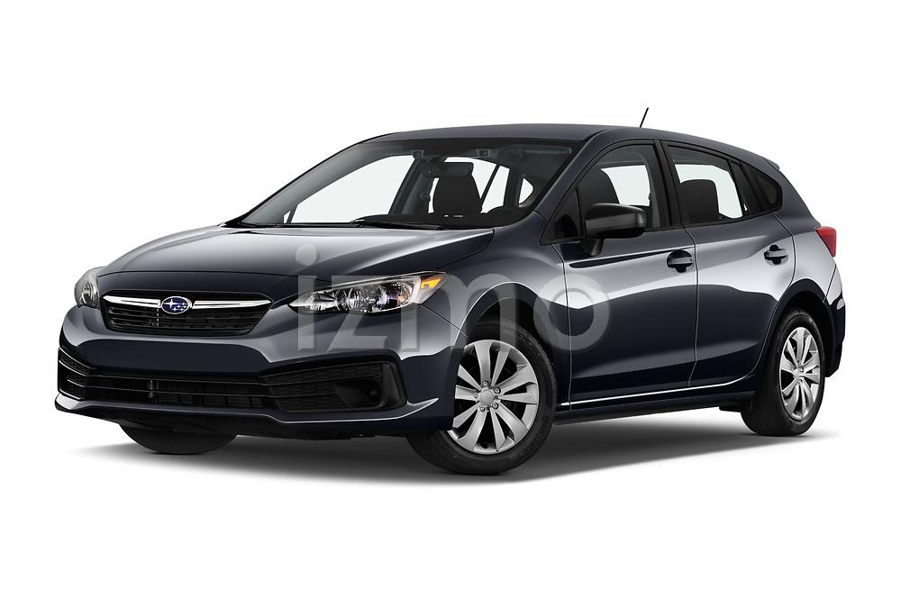 Stock pictures of low aggressive front three quarter view of 2021 Subaru Impreza - 5 Door Hatchback Low Aggressive