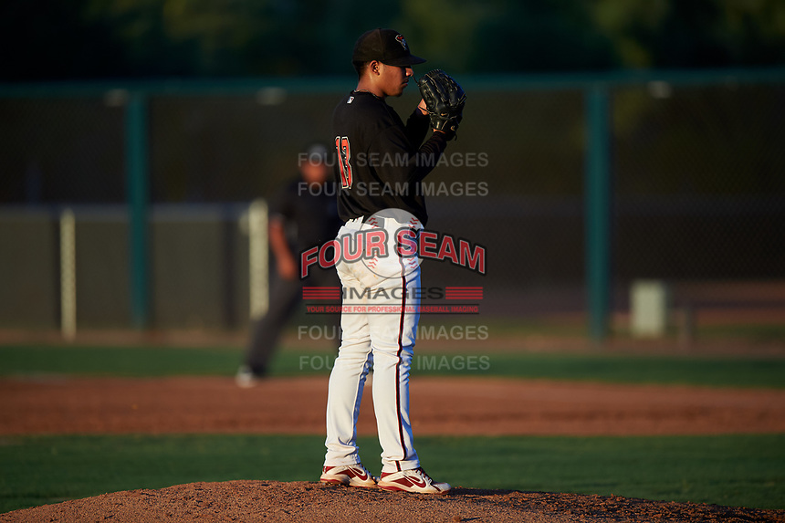 AZL D-backs relief pitcher Argenis Bravo (13) during an Arizona League game against the AZL Angels on July 20, 2019 at Salt River Fields at Talking Stick in Scottsdale, Arizona. The AZL Angels defeated the AZL D-backs 11-4. (Zachary Lucy/Four Seam Images)
