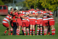 The East Coast team huddles before the Wairarapa Bush reserves club rugby match between Pioneer and East Coast at Pioneer Rugby Club in Greytown, New Zealand on Saturday, 22 April 2017. Photo: Dave Lintott / lintottphoto.co.nz