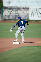 Yeison Coca (2) of the Helena Brewers during the game against the Ogden Raptors at Lindquist Field on July 14, 2018 in Ogden, Utah. Ogden defeated Helena 8-6. (Stephen Smith/Four Seam Images)