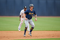 Montgomery Biscuits Robbie Tenerowicz (3) leads off second base during a Southern League game against the Biloxi Shuckers on May 8, 2019 at MGM Park in Biloxi, Mississippi.  Biloxi defeated Montgomery 4-2.  (Mike Janes/Four Seam Images)