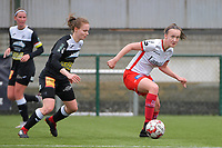Tiana Andries (11) of Eendracht Aalst and Geena Lisa Buyle (13) of Zulte Waregem  pictured during a female soccer game between SV Zulte - Waregem and Eendracht Aalst on the 9 th matchday in play off 2 of the 2020 - 2021 season of Belgian Scooore Womens Super League , saturday 22 nd of May 2021  in Zulte , Belgium . PHOTO SPORTPIX.BE   SPP   DIRK VUYLSTEKE