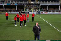 Fleetwood Town manager Uwe Rosler leaves the pitch ahead of the FA Cup 2nd round replay match between Hereford and Fleetwood Town at Edgar Street, Hereford, UK on 14 December 2017. Photo by Mark Hawkins / PRiME Media Images.