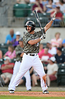 Arkansas Travelers outfielder Drew Heid (4) calls time during a game against the San Antonio Missions on May 25, 2014 at Dickey-Stephens Park in Little Rock, Arkansas.  Arkansas defeated San Antonio 3-1.  (Mike Janes/Four Seam Images)