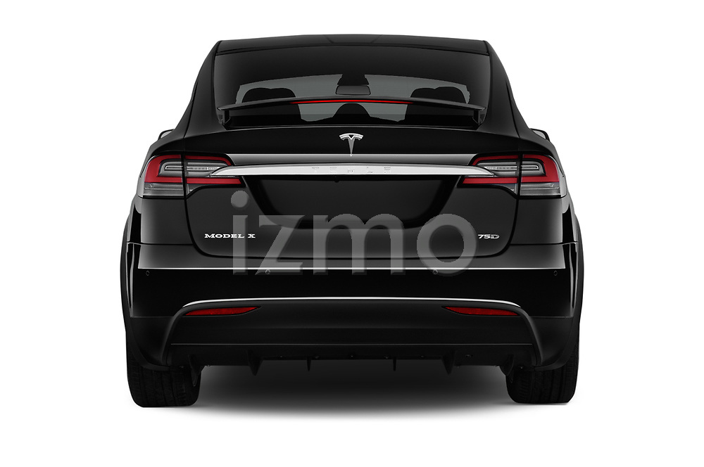 Straight rear view of 2017 Tesla Model-X 75D 5 Door SUV Rear View  stock images