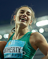 2nd May 2021; Silesian Stadium, Chorzow, Poland; World Athletics Relays 2021. Day 2; Doherty close up after she wins silver for Ireland in the women's 4 x 200
