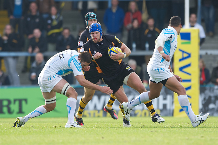 James Haskell of London Wasps in action during the Aviva Premiership match between London Wasps and Worcester Warriors at Adams Park on Sunday 7th October 2012 (Photo by Rob Munro)