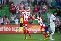 MELBOURNE, AUSTRALIA - January 2:  Rutger Worm of the Heart celebrates his goal during the round 21 A-League match between Melbourne Heart and North Queensland Fury at AAMI Park on January 2, 2011 in Melbourne, Australia. (Photo by Sydney Low / Asterisk Images)