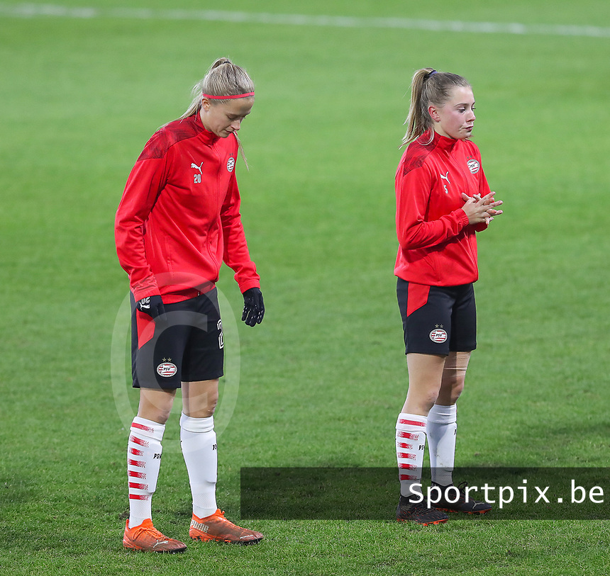 Julie Biesmans (20 PSV) and Janou Levels (5 PSV) pictured before a female soccer game between PSV Eindhoven Vrouwen and Barcelona, in the round of 32, 1st leg of Uefa Womens Champions League of the 2020 - 2021 season , Wednesday 9th of December 2020  in , Eindhoven, the Netherlands. PHOTO SPORTPIX.BE | SPP | SEVIL OKTEM