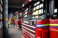 Fire Station appliance bay Warwickshire UK. This image may only be used to portray the subject in a positive manner..©shoutpictures.com..john@shoutpictures.com