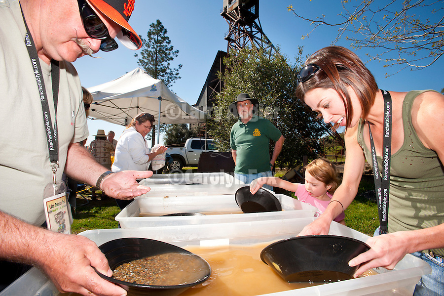 Panning for gold at the historic Kennedy Gold Mine, Jackson, Calif. during the 49er Treasure Trail event, Amador Council of Tourism showcasing attractions within Amador County.