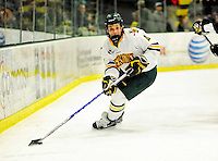 5 February 2011: University of Vermont Catamount defenseman Nick Bruneteau, a Freshman from Omaha, NE, in action against the Providence College Friars at Gutterson Fieldhouse in Burlington, Vermont. The Catamounts defeated the Friars 7-1 in the second game of their weekend series. Mandatory Credit: Ed Wolfstein Photo