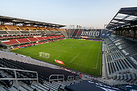 WASHINGTON, DC - SEPTEMBER 06: Players kneel on the pitch at Audi Field before a game between New York City FC and D.C. United at Audi Field on September 06, 2020 in Washington, DC.