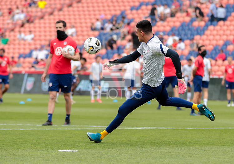 SANDY, UT - JUNE 10: David Ochoa #19 of the United States warming up before a game between Costa Rica and USMNT at Rio Tinto Stadium on June 10, 2021 in Sandy, Utah.