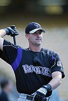 Greg Norton of the Colorado Rockies during a 2003 season MLB game at Dodger Stadium in Los Angeles, California. (Larry Goren/Four Seam Images)