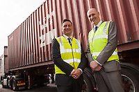 Pictured in the yard from left are Dave Smith and Nick Setaro from Kuehne + Nagel