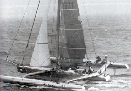 Lakota takes her high speed departure northwards from Dublin Bay in September 1993.