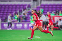 ORLANDO, FL - FEBRUARY 24: Jordyn Listro #21 of the CANWNT running back during a game between Brazil and Canada at Exploria Stadium on February 24, 2021 in Orlando, Florida.