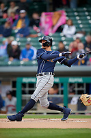 Toledo Mud Hens center fielder JaCoby Jones (21) bats during a game against the Indianapolis Indians on May 2, 2017 at Victory Field in Indianapolis, Indiana.  Indianapolis defeated Toledo 9-2.  (Mike Janes/Four Seam Images)