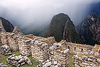 Ancient stone walls at Machu Picchu, Peru
