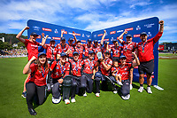 The Magicians celebrate winning the Dream11 Super Smash T20 women's cricket final between Wellington Blaze and Canterbury Magicians at the Basin Reserve in Wellington, New Zealand on Saturday, 13 February 2021. Photo: Dave Lintott / lintottphoto.co.nz