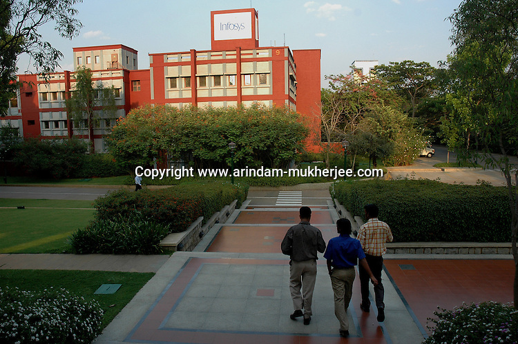 Indian software professionals in front of the oldest  Infosys building in Bangalore. Infosys is the largest software company in the country and the head office is in Bangalore, Karnataka, India. Arindam Mukherjee
