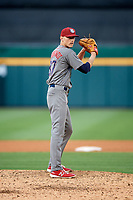 Lehigh Valley IronPigs relief pitcher Brandon Leibrandt (37) gets ready to deliver a pitch during a game against the Buffalo Bisons on June 23, 2018 at Coca-Cola Field in Buffalo, New York.  Lehigh Valley defeated Buffalo 4-1.  (Mike Janes/Four Seam Images)