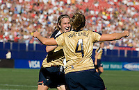 Heather O'Reilly and Cat Whitehill celebrate. USA defeated Brazil 2-0 at Giants Stadium on Sunday, June 23, 2007.