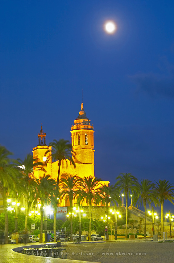 San Barthomieu i Santa Tecla church. At night. The coast walk. Sitges, Catalonia, Spain