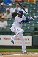 Round Rock Express outfielder Engel Beltre #7 at bat against the New Orleans Zephyrs in the Pacific Coast League baseball game on April 21, 2013 at the Dell Diamond in Round Rock, Texas. Round Rock defeated New Orleans 7-1. (Andrew Woolley/Four Seam Images).