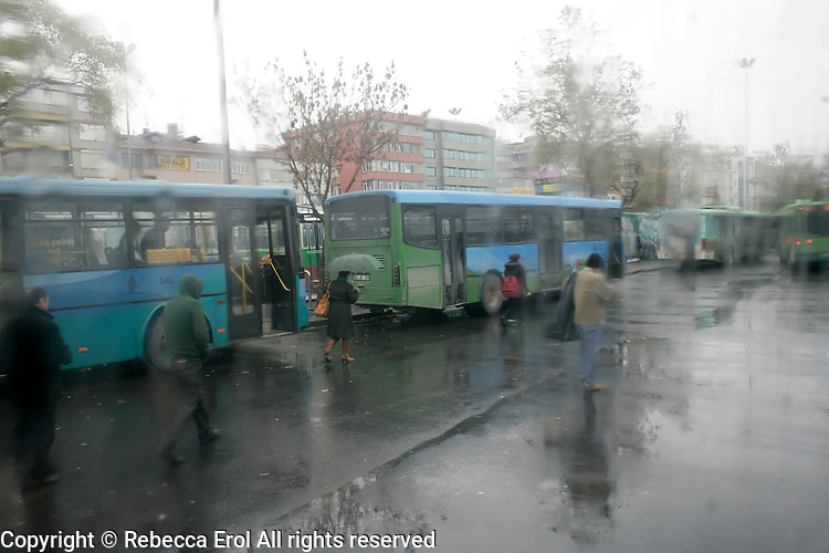 Kadikoy buses in the rain, Istanbul, Turkey