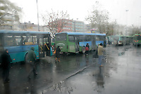Kadikoy buses in the rain, Istanbul, Turkey