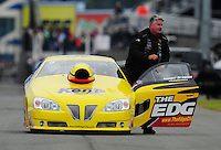 Sept. 17, 2011; Concord, NC, USA: NHRA pro stock driver Rodger Brogdon during qualifying for the O'Reilly Auto Parts Nationals at zMax Dragway. Mandatory Credit: Mark J. Rebilas-