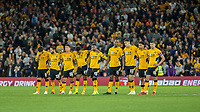 22nd September 2021; Molineux Stadium, Wolverhampton,  West Midlands, England; EFL Cup football, Wolverhampton Wanderers versus Tottenham Hotspur; Wolverhampton Wanderers players watch anxiously during the penalty shoot out