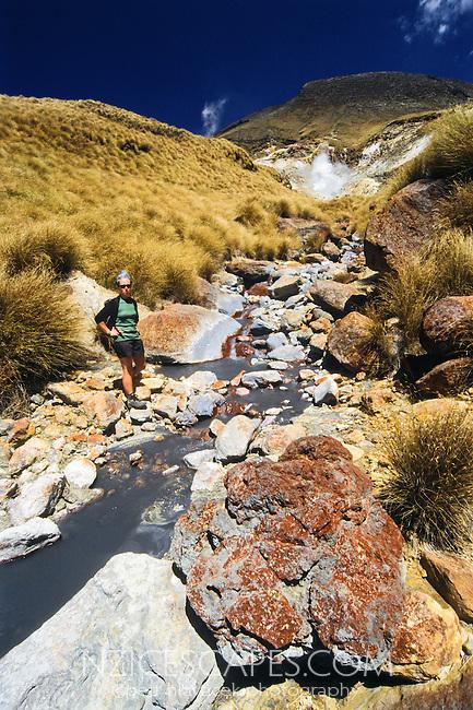 A hiker at Katetahi Hot Springs - Tongariro National Park, New Zealand
