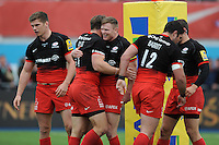 Chris Wyles of Saracens celebrates scoring a try with Chris Ashton of Saracens during the Aviva Premiership semi final match between Saracens and Leicester Tigers at Allianz Park on Saturday 21st May 2016 (Photo: Rob Munro/Stewart Communications)