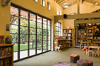 Glass doors to garden at the library of Palo Alto Children's Hospital