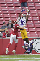 Arkansas defensive back Hudson Clark (17) blocks a pass intended for LSU wide receiver Jaray Jenkins (10), Saturday, November 21, 2020 during the first quarter of a football game at Donald W. Reynolds Razorback Stadium in Fayetteville. Check out nwaonline.com/201122Daily/ for today's photo gallery. <br /> (NWA Democrat-Gazette/Charlie Kaijo)