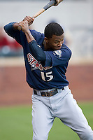 Shortstop Alcides Escobar (15) of the Huntsville Stars gets loose prior to the start of the game at the Baseball Grounds in Jacksonville, FL, Wednesday June 11, 2008.