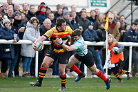 Ben Ransom of Blackheath Rugby makes a tackle during the English National League match between Richmond and Blackheath  at Richmond Athletic Ground, Richmond, United Kingdom on 4 January 2020. Photo by Carlton Myrie.