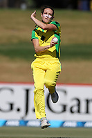 4th April 2021; Bay Oval, Taurange, New Zealand;  Australia's Megan Schutt bowls during the 1st women's ODI White Ferns versus Australia cricket match at Bay Oval in Tauranga.